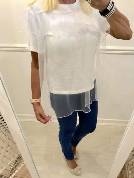WHITE T-SHIRT WITH NET OVERLAY